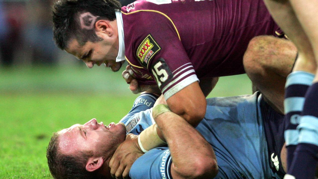 Carl Webb meets Luke Bailey in the 2005 State of Origin series. Picture: Darren England.