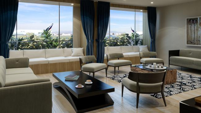 "There 13 private suites in the exclusive terminal, each with their own bathroom, kitchen area, and two-person daybed with views of the runway. Guests are invited to pre-order complimentary meals that will be ready upon arrival. Each suite is staffed by a ""logistics team"" of eight, and celebrities including Jamie Foxx, Jessica Alba and Rachel Zoe have frequented the suites."
