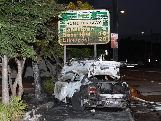 The speed of the Audi was allegedly excessive and speared the car 80m along the road after impact, causing it to burst into flames. Picture: Bill Hearne