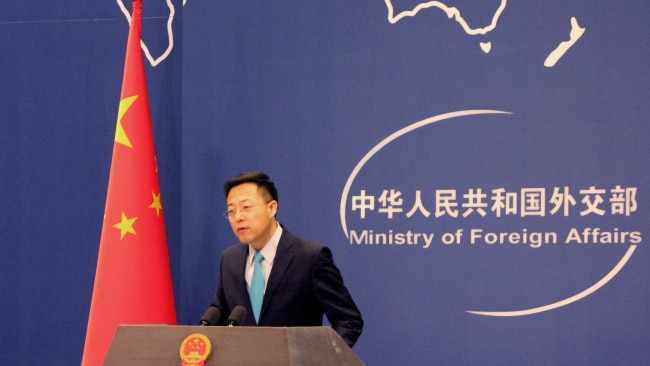 """Chinese Foreign Ministry Spokesman Zhao Lijian is pictured during his routine daily press conference. Mr Zhao said the United States needed to focus on its own """"so-called democracy"""" rather than """"interferring"""" with China's affairs. Picture: Getty"""