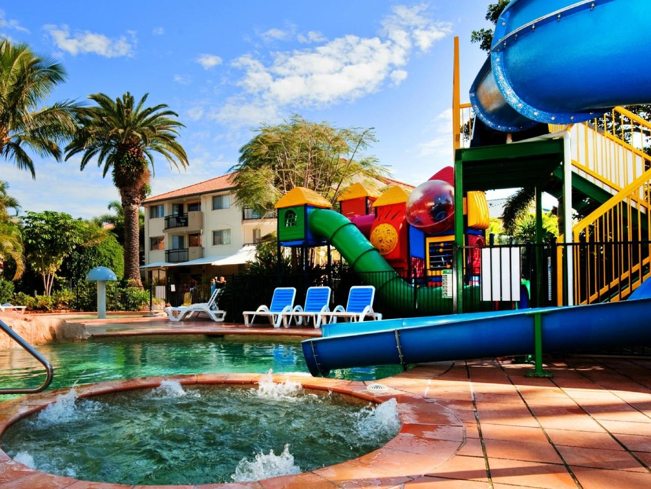 Kids are spoiled for choice with pool fun at Turtle Beach Resort.