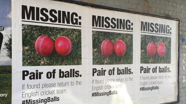A missing pair of balls poster seen near Richmond train station