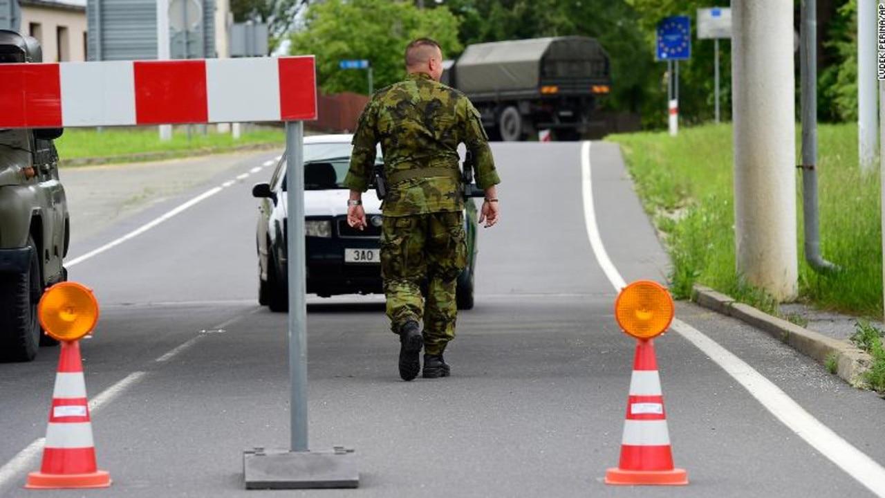 Soldiers patrol the Polish-Czech border during the coronavirus pandemic