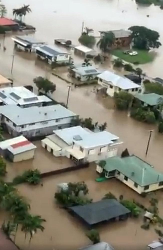 The flooded streets of Ingham from the air.