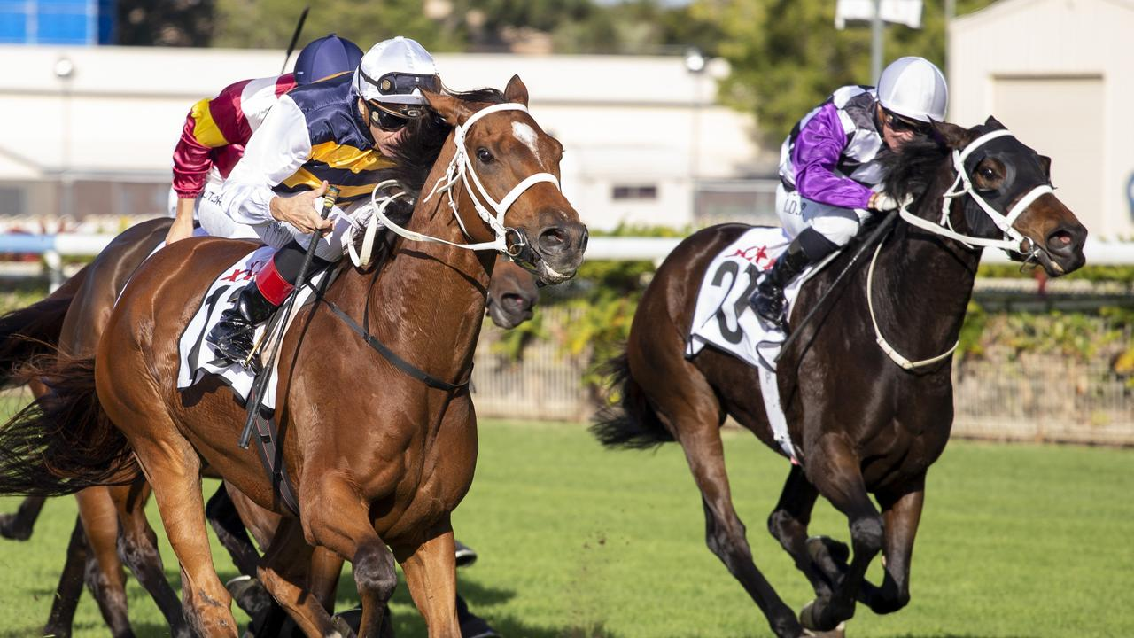 Jockey Michael Cahill rides Le Juge to victory in the Chairman's Handicap.