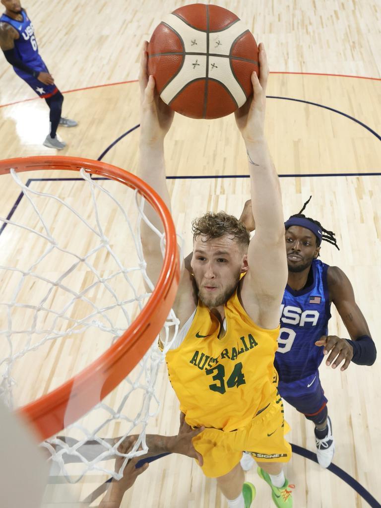 Jock Landale dunks on the United States.