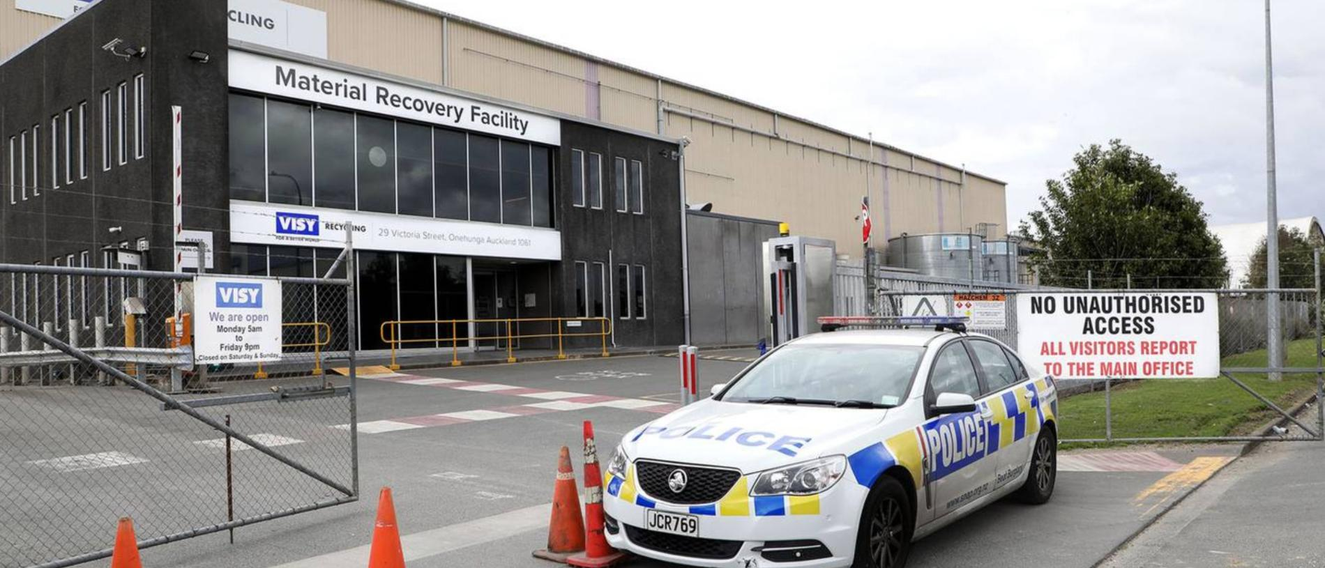 Police outside the recycling centre in Onehunga, Auckland where the body of a baby was found. Picture: Hayden Woodward/NZ Herald