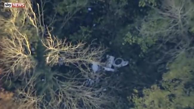 A view of the plane and helicopter crash from above. Picture: Sky News UK/Supplied