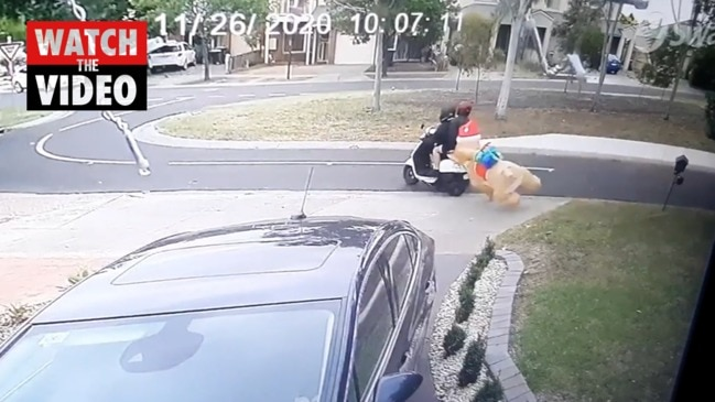 CCTV catches moment inflatable Christmas decoration was stolen
