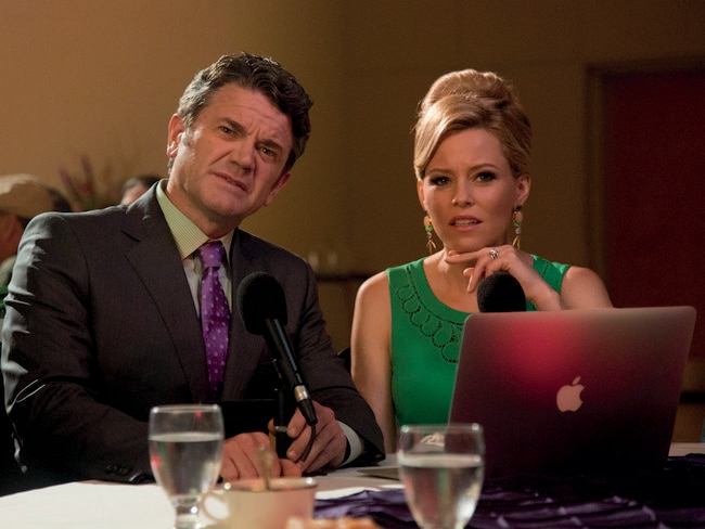 John Michael Higgins and Elizabeth Banks in a scene from Pitch Perfect 2.