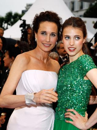 MacDowell and daughter Sarah Margaret Qualley at the Cannes Film Festival. Picture: Andreas Rentz/Getty Images.