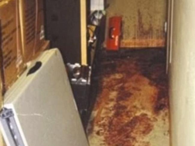 The bloody scene inside the house where Katherine Knight skinned her boyfriend and boiled up his head for dinner.