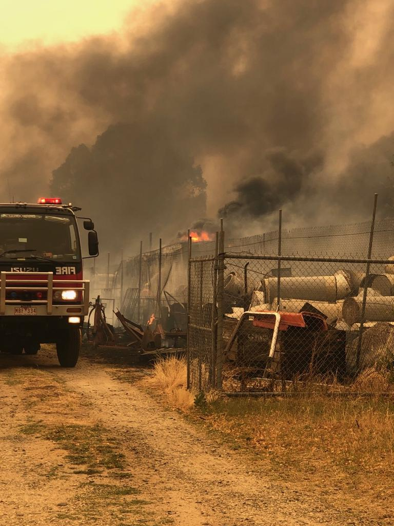 Fires near Corryong on Saturday. Picture: Bill Tilley