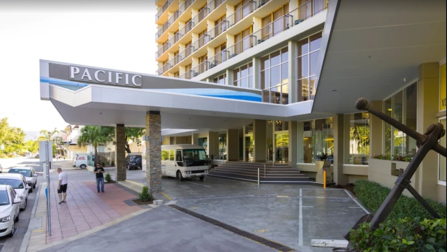 The 32-year-old woman was isolating at the Pacific International Hotel in Cairns. Picture: Google Maps