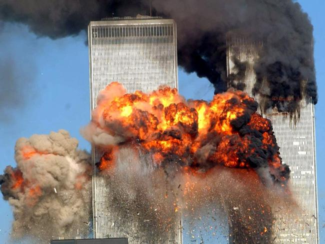 A plane crashes into the south tower of the World Trade Center on September 11, 2001 in New York City. Picture: Getty