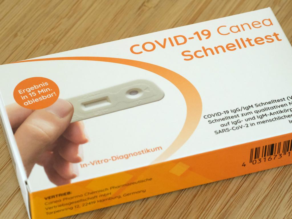 A COVID-19 home-testing kit, purchased at a local pharmacy in Berlin. Picture: Getty Images