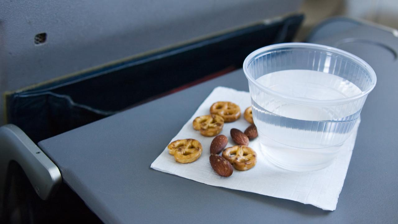 The flight served almonds as part of their service.
