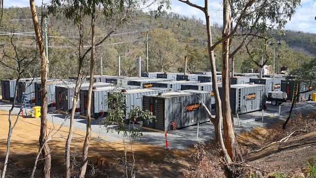 Meadowbank Power Station temporary diesel generators installed there under Tasmania's Energy Supply Plan. The 24 MW installed at Meadowbank is part of the first tranche of 100 MW scheduled to be in place by the end of March. Hydro Tasmania CEO Steve Davy, left, and managing director of Aggreko George Whyte. Picture: SAM ROSEWARNE