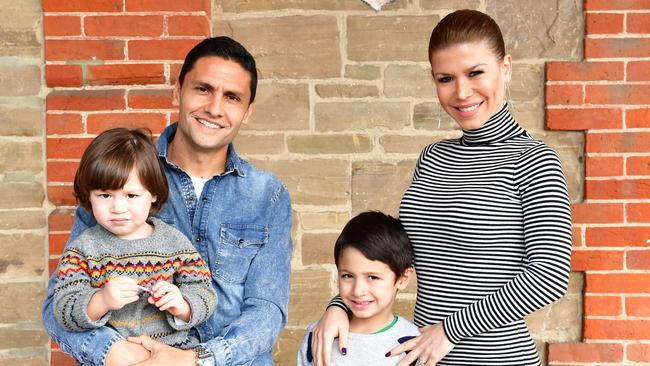Marcelo Carrusca and his family Carina and boys Luca, 5, and Nicolas, 2. The family has all earned Australian citizenship. Picture: AAP Image/Keryn Stevens