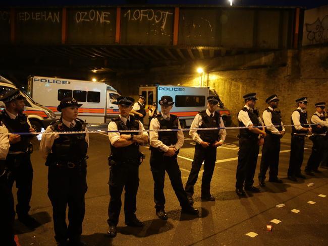 Police cordon off the street after the van mowed down pedestrians. Picture: AFP / Daniel Leal-Olivas