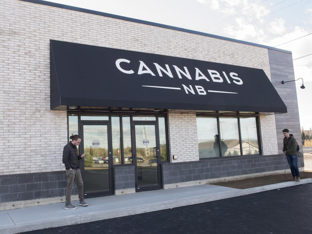 The exterior of a Cannabis NB retail store is shown in Fredericton, New Brunswick. Picture: Stephen MacGillivray/The Canadian Press/AP