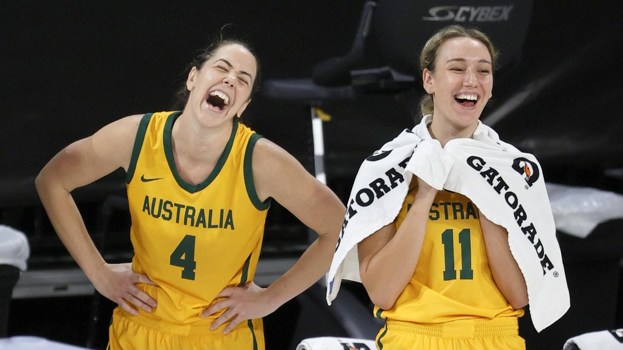 Jenna O'Hea and Alanna Smith laugh on the bench late in an exhibition game against the United States. Picture: Ethan Miller/Getty Images