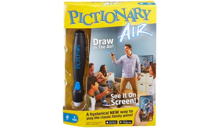 <b>PICTIONARY AIR.</b>  The newest version of everybody's favourite family game, Pictionary Air takes the game of quick draw to a whole new level! Getting rid of old-fashioned paper and pens you can now draw on your phone, tablet, even your TV!