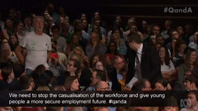 Climate change protester interrupts Q&A panel (Q&A)