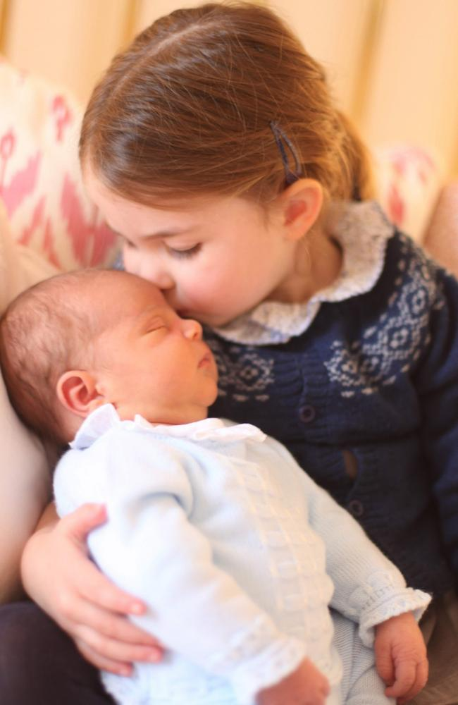 Prince Louis with his proud big sister. Picture: AFP Photo/Kensington Palace/Duchess of Cambridge