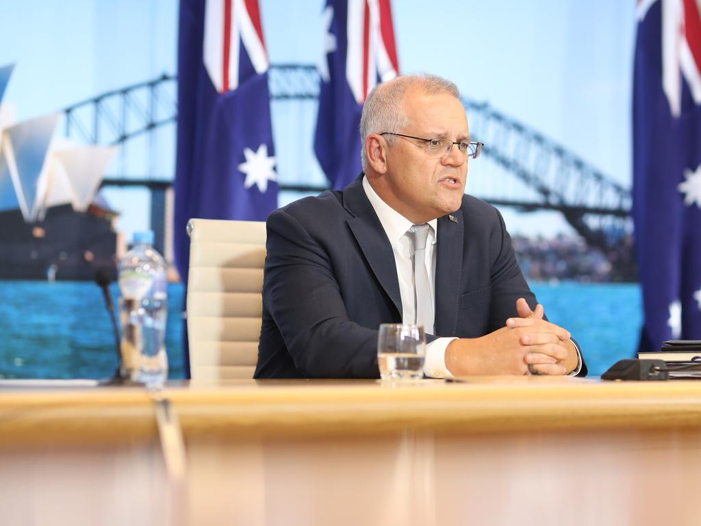 Scott Morrison outlined what practical steps Australia was doing to achieve its climate goals. Picture: NCA NewsWire / Christian Gilles