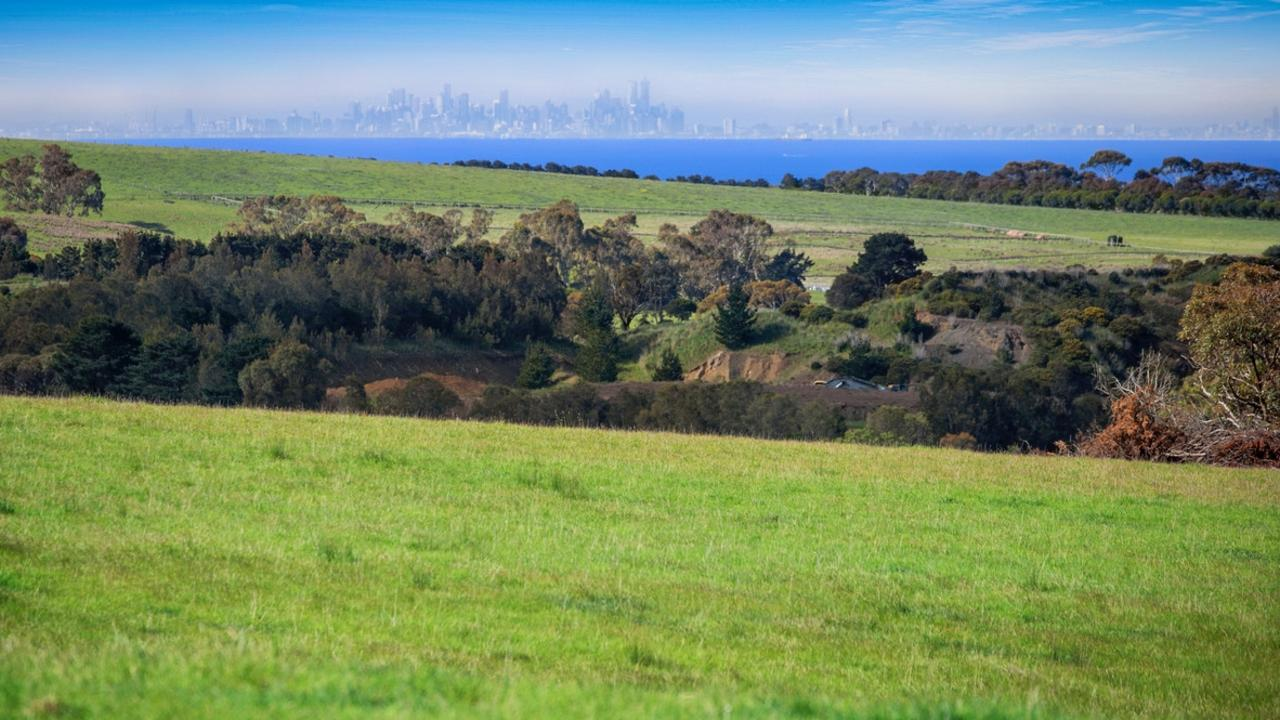 The views of the Melbourne skyline from 425 Murradoc Rd, Drysdale.