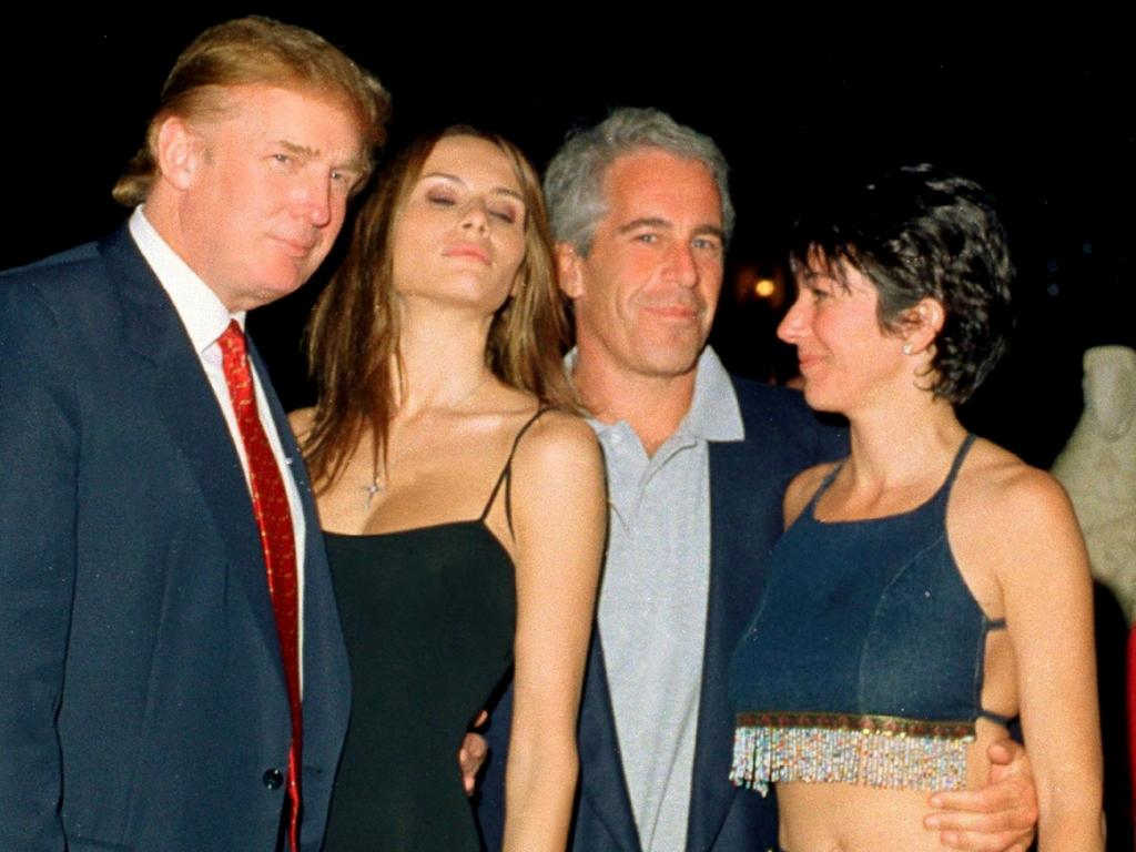 Donald and Melania Trump with Jeffrey Epstein, and British socialite Ghislaine Maxwell in 2000. Picture: Getty Images