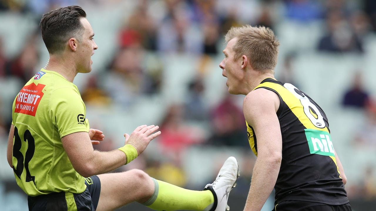 AFL 2019: Studs up rule comes under microscope after Jack Riewoldt penalised twice