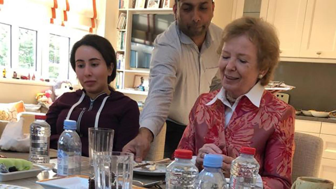 A handout image provided by United Arab Emirates News Agency shows Latifa having a meal with Mary Robinson, former president of Ireland, in Dubai. Picture: Stringer/AFP