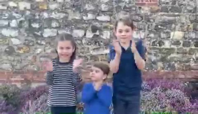 Princes George and Louis and Princess Charlotte join The UK in Clapping for the NHS
