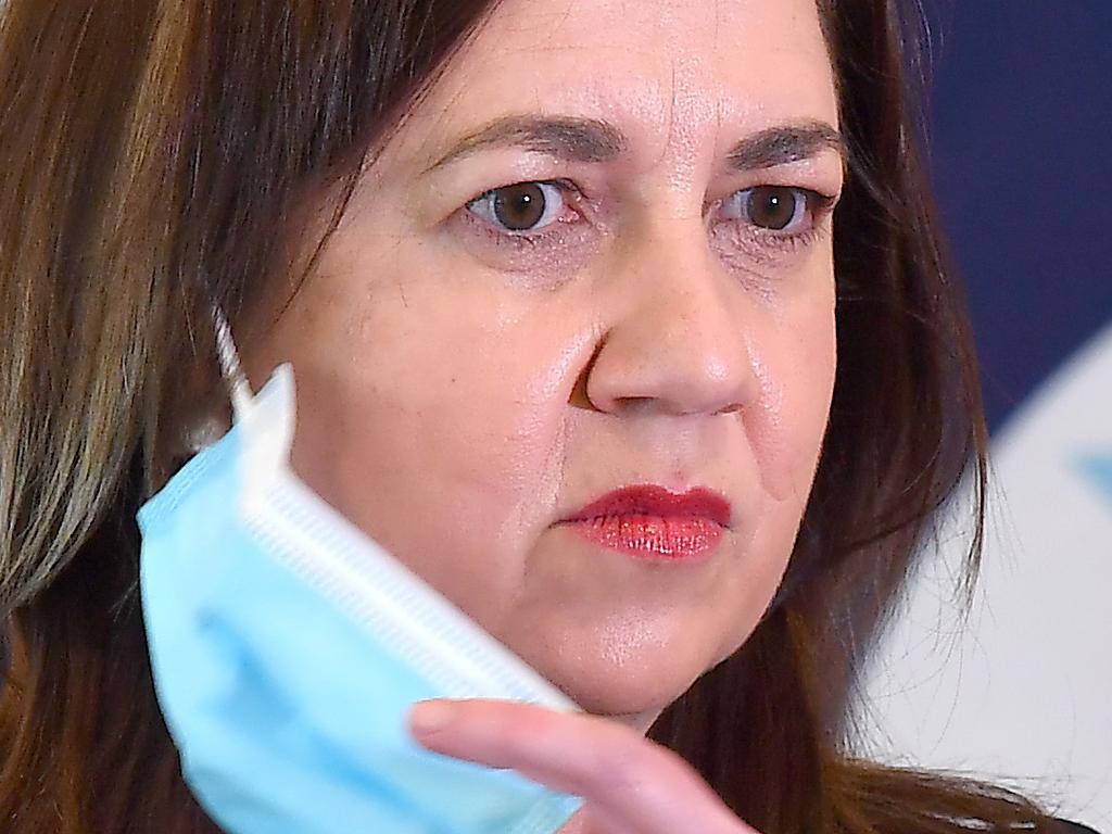 BRISBANE, AUSTRALIA - NewsWire Photos October 18, 2021: Premier Annastacia Palaszczuk at the COVID update. Picture: NCA NewsWire / John Gass