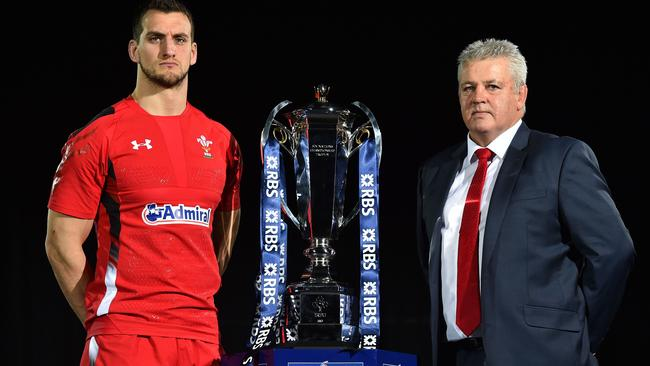 Wales captain Sam Warburton and coach Warren Gatland with the Six Nations trophy.