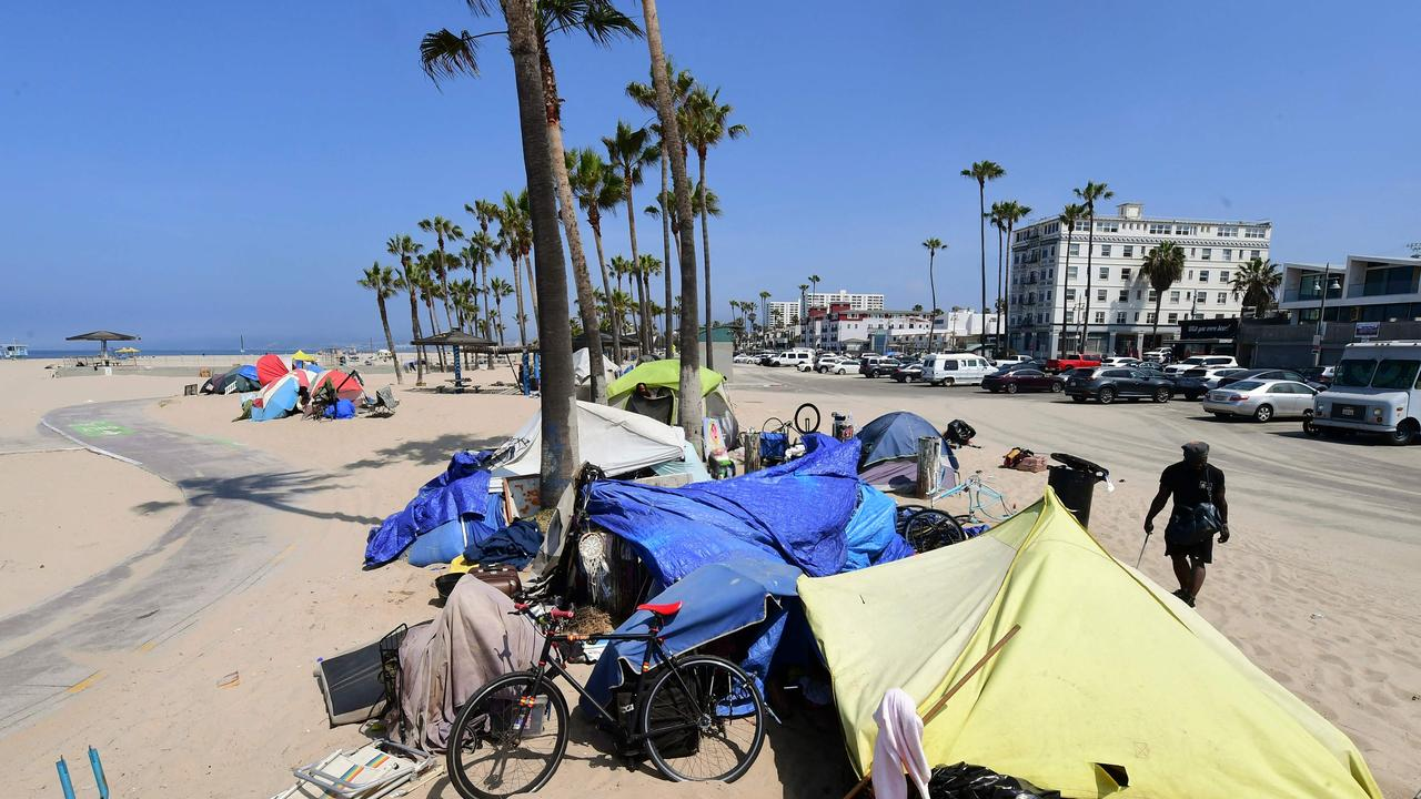 A homeless encampment at Venice Beach on June 30. Picture: Frederic J. Brown / AFP