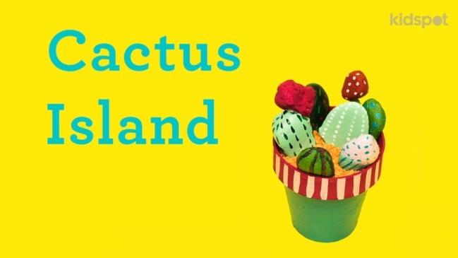 Make a cactus island craft using lentils and rocks!