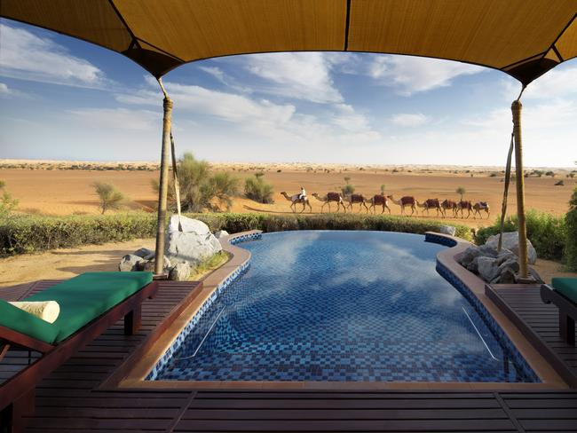 """AL MAHA, DUBAI, UAE:Dubai is as well known for its glitzy resorts as for its desert — and Al Maha combines both all in a Bedouin inspired """"encampment"""" in the Dubai Desert Conservation Reserve. With a 530m presidential suite priced from $12,500, it's as far away from roughing it as you could ever get in a """"tent"""". The suite has three bedrooms, each with a custom-made super kingsize bed, and opulent bathrooms, along with quarters for your own staff. Even the not-quite-so-expensive suites each come with their own plunge pool and desert views."""