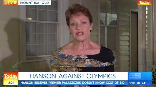 Pauline Hanson blows up over Brisbane's bid for 2032 Olympics (Today Show)