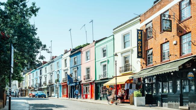 Portobello Road - Notting Hill, UK Its pastel coloured houses are just the tip of the iceberg at this popular London borough. There are the markets, the annual Notting Hill Carnival that celebrates Caribbean heritage and more  hole-in-the-wall type vintage shops than you can sneeze at.
