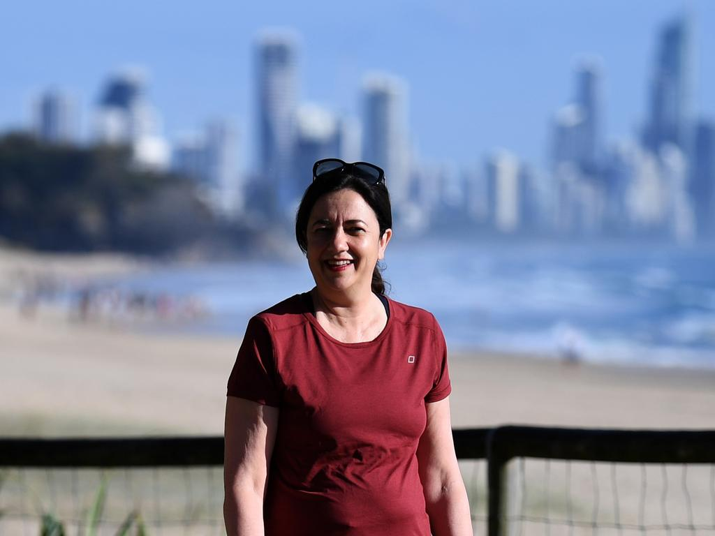 Queensland Premier Annastacia Palaszczuk (picture during a morning walk at Burleigh Heads last year) said she urged southeast Queensland families to visit the Gold Coast on the People's Long Weekend in October. Picture: NCA NewsWire / Dan Peled