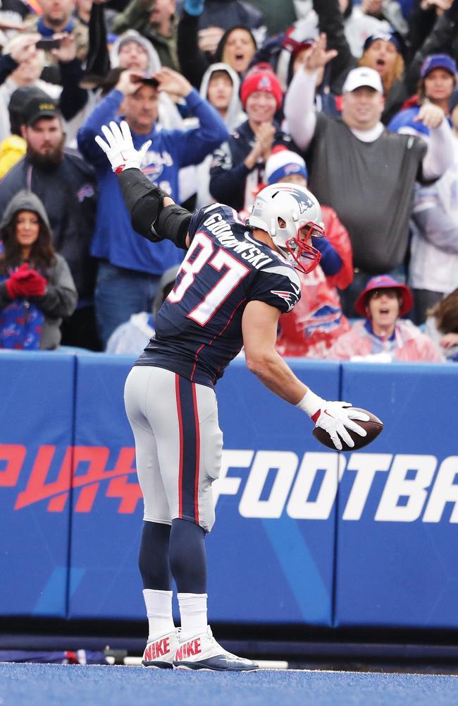 Rob Gronkowski #87 of the New England Patriots celebrates his touchdown.