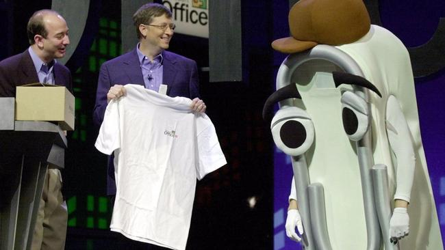 Bill Gates on stage with Clippy