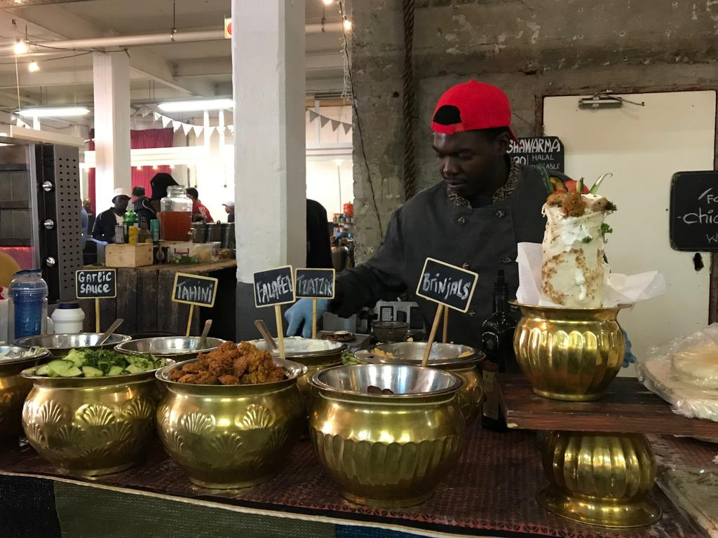 A stall for shawarma in the food markets in Arts on Main.