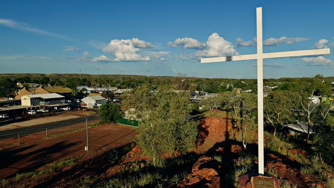 On top of Anzac Hill in Tennant Creek as the sun sets. Picture: Michael Franchi