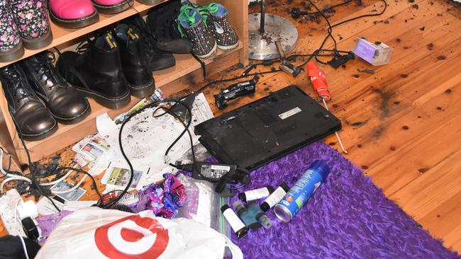 The Metropolitan Fire Brigade released these photos of the damage caused by the exploding laptop.