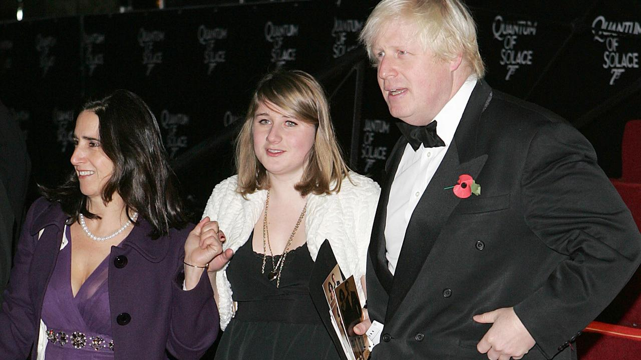 Boris Johnson with his then wife Marina and daughter Lara at a film premiere in 2008. Picture: Fred Duval/WireImage