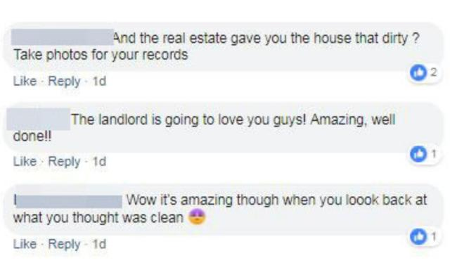 Hundreds of impressed mothers commented, with some suggesting she ask for a rent reduction. Source: Facebook